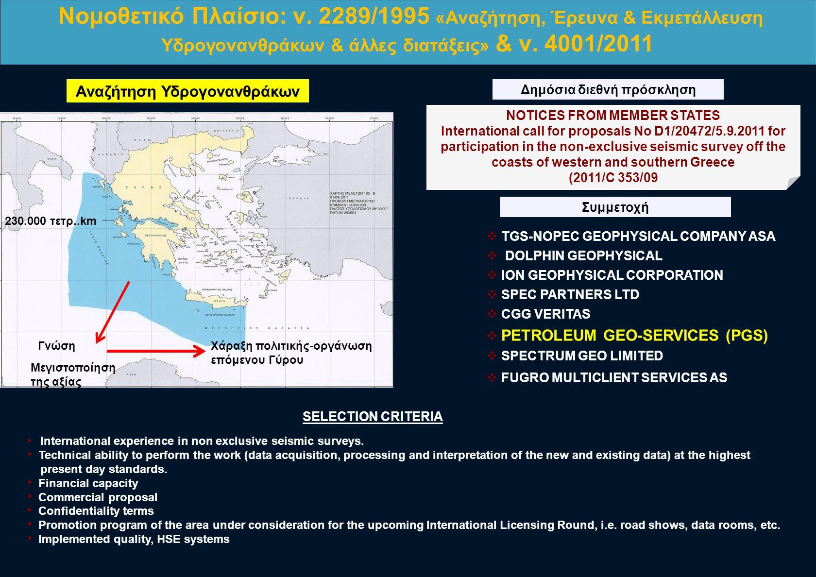 Αναζήτηση Υδρογονανθράκων Δημόσια διεθνή πρόσκληση Συμμετοχή NOTICES FROM MEMBER STATES International call for proposals No D1/20472/5.9.2011 for part