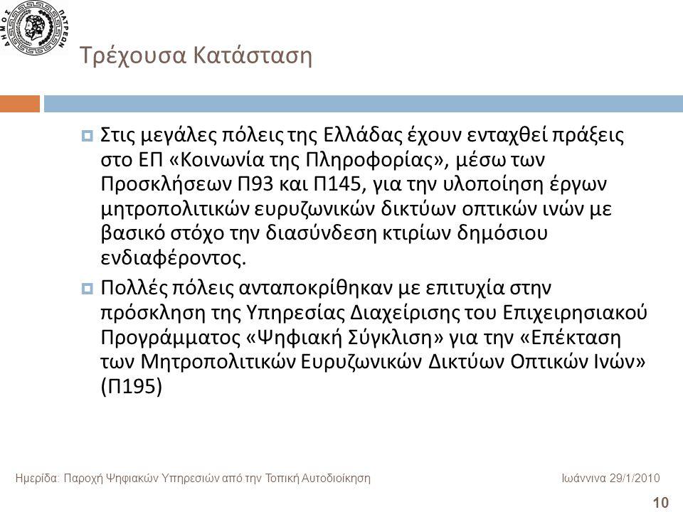 10 Ημερίδα: Παροχή Ψηφιακών Υπηρεσιών από την Τοπική ΑυτοδιοίκησηΙωάννινα 29/1/2010 Τρέχουσα Κατάσταση  Στις μεγάλες πόλεις της Ελλάδας έχουν ενταχθεί πράξεις στο ΕΠ « Κοινωνία της Πληροφορίας », μέσω των Προσκλήσεων Π 93 και Π 145, για την υλοποίηση έργων μητροπολιτικών ευρυζωνικών δικτύων οπτικών ινών με βασικό στόχο την διασύνδεση κτιρίων δημόσιου ενδιαφέροντος.