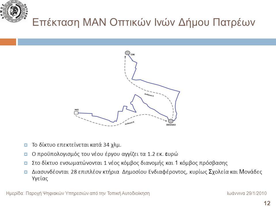 12 Ημερίδα: Παροχή Ψηφιακών Υπηρεσιών από την Τοπική ΑυτοδιοίκησηΙωάννινα 29/1/2010 Επέκταση ΜΑΝ Οπτικών Ινών Δήμου Πατρέων  Το δίκτυο επεκτείνεται κατά 34 χλμ.