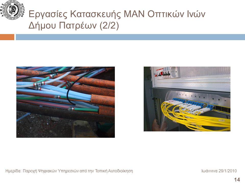 14 Ημερίδα: Παροχή Ψηφιακών Υπηρεσιών από την Τοπική ΑυτοδιοίκησηΙωάννινα 29/1/2010 Εργασίες Κατασκευής ΜΑΝ Οπτικών Ινών Δήμου Πατρέων (2/2)