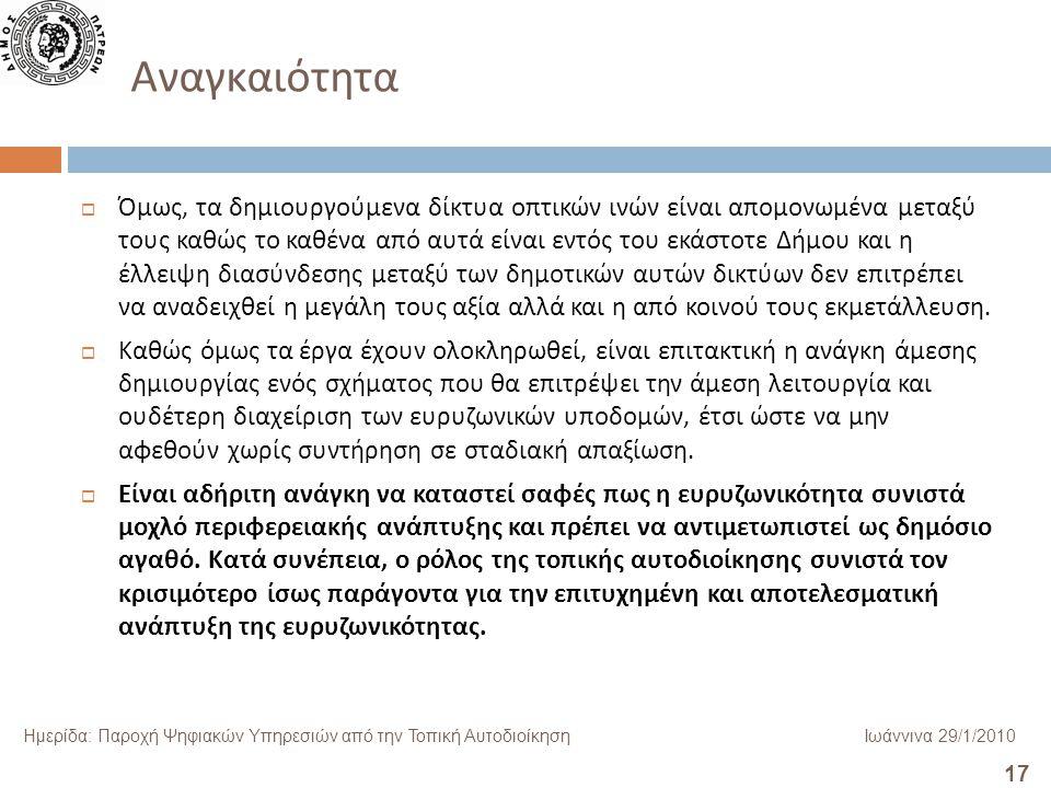 17 Ημερίδα: Παροχή Ψηφιακών Υπηρεσιών από την Τοπική ΑυτοδιοίκησηΙωάννινα 29/1/2010 Αναγκαιότητα  Όμως, τα δημιουργούμενα δίκτυα οπτικών ινών είναι α