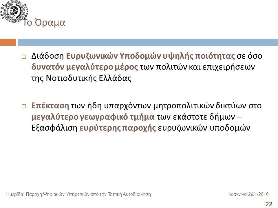22 Ημερίδα: Παροχή Ψηφιακών Υπηρεσιών από την Τοπική ΑυτοδιοίκησηΙωάννινα 29/1/2010 Το Όραμα  Διάδοση Ευρυζωνικών Υποδομών υψηλής ποιότητας σε όσο δυνατόν μεγαλύτερο μέρος των πολιτών και επιχειρήσεων της Νοτιοδυτικής Ελλάδας  Επέκταση των ήδη υπαρχόντων μητροπολιτικών δικτύων στο μεγαλύτερο γεωγραφικό τμήμα των εκάστοτε δήμων – Εξασφάλιση ευρύτερης παροχής ευρυζωνικών υποδομών