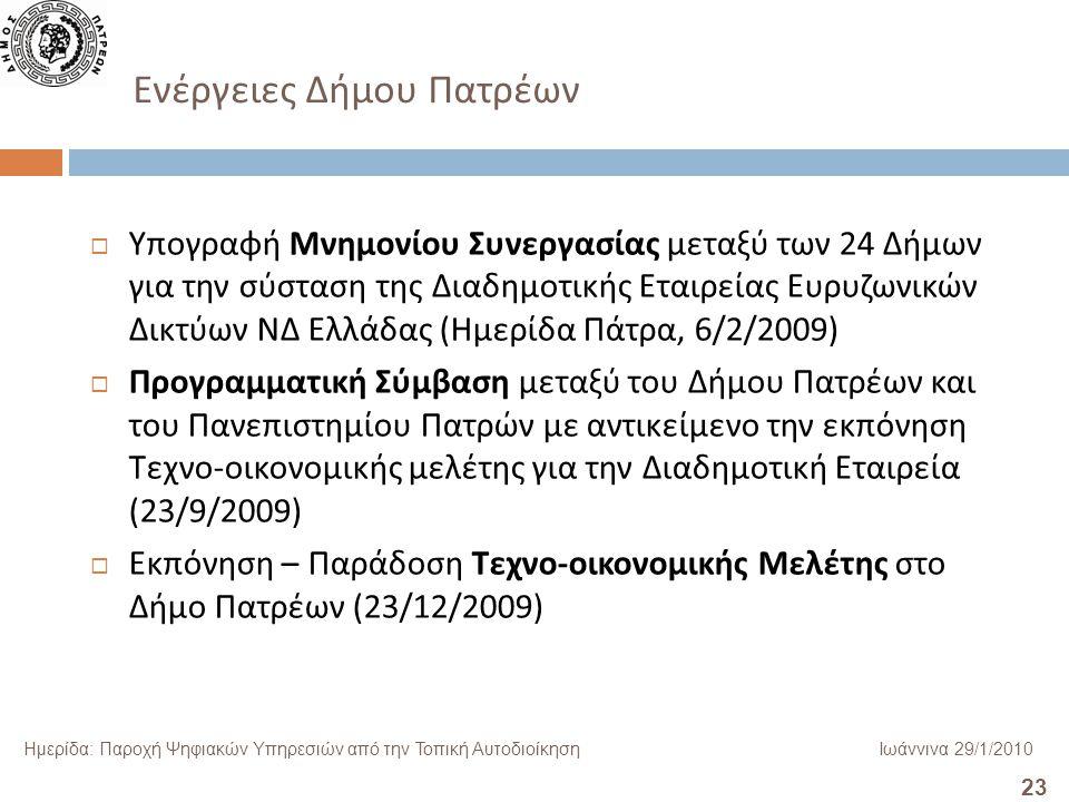 23 Ημερίδα: Παροχή Ψηφιακών Υπηρεσιών από την Τοπική ΑυτοδιοίκησηΙωάννινα 29/1/2010 Ενέργειες Δήμου Πατρέων  Υπογραφή Μνημονίου Συνεργασίας μεταξύ των 24 Δήμων για την σύσταση της Διαδημοτικής Εταιρείας Ευρυζωνικών Δικτύων ΝΔ Ελλάδας (Ημερίδα Πάτρα, 6/2/2009)  Προγραμματική Σύμβαση μεταξύ του Δήμου Πατρέων και του Πανεπιστημίου Πατρών με αντικείμενο την εκπόνηση Τεχνο-οικονομικής μελέτης για την Διαδημοτική Εταιρεία (23/9/2009)  Εκπόνηση – Παράδοση Τεχνο-οικονομικής Μελέτης στο Δήμο Πατρέων (23/12/2009)