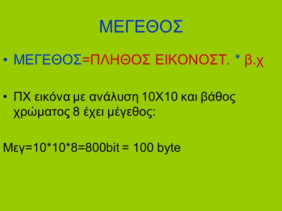 ΜΕΓΕΘΟΣ •ΜΕΓΕΘΟΣ=ΠΛΗΘΟΣ ΕΙΚΟΝΟΣΤ. * β.χ •ΠΧ εικόνα με ανάλυση 10Χ10 και βάθος χρώματος 8 έχει μέγεθος: Μεγ=10*10*8=800bit = 100 byte