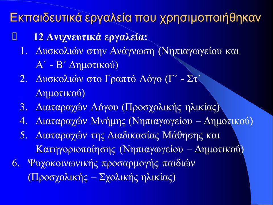 Εκπαιδευτικά εργαλεία που χρησιμοποιήθηκαν  12 Ανιχνευτικά εργαλεία: 1. Δυσκολιών στην Ανάγνωση (Νηπιαγωγείου και Α΄ - Β΄ Δημοτικού) 2. Δυσκολιών στο