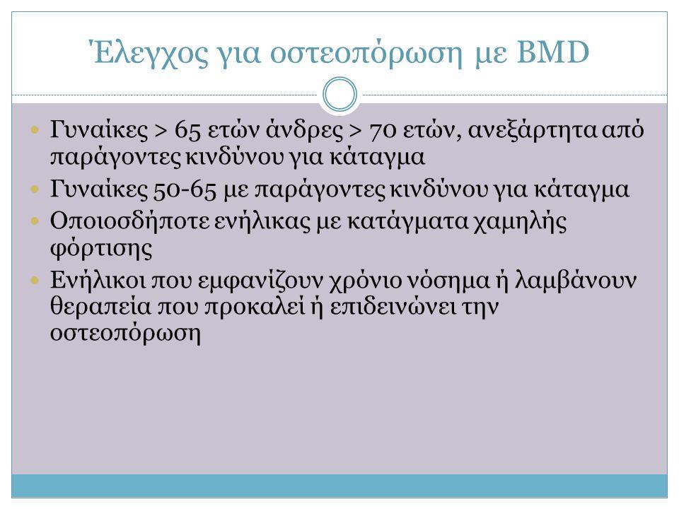 Έλεγχος για οστεοπόρωση με ΒΜD  Γυναίκες > 65 ετών άνδρες > 70 ετών, ανεξάρτητα από παράγοντες κινδύνου για κάταγμα  Γυναίκες 50-65 με παράγοντες κι