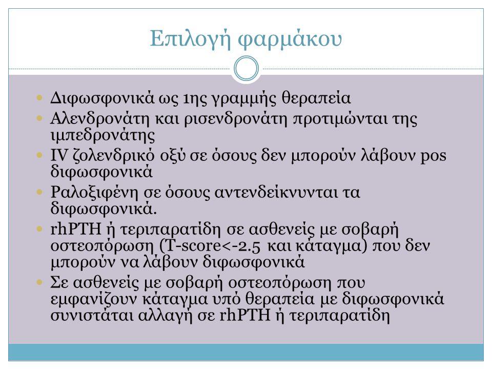 Επιλογή φαρμάκου  Διφωσφονικά ως 1ης γραμμής θεραπεία  Αλενδρονάτη και ρισενδρονάτη προτιμώνται της ιμπεδρονάτης  IV ζολενδρικό οξύ σε όσους δεν μπ