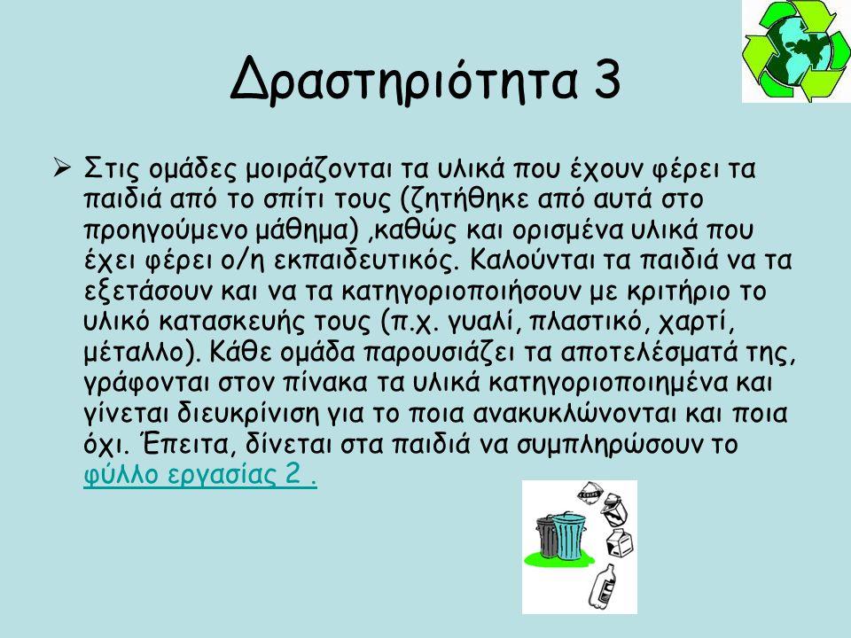 Δραστηριότητα 3  Στις ομάδες μοιράζονται τα υλικά που έχουν φέρει τα παιδιά από το σπίτι τους (ζητήθηκε από αυτά στο προηγούμενο μάθημα),καθώς και ορ