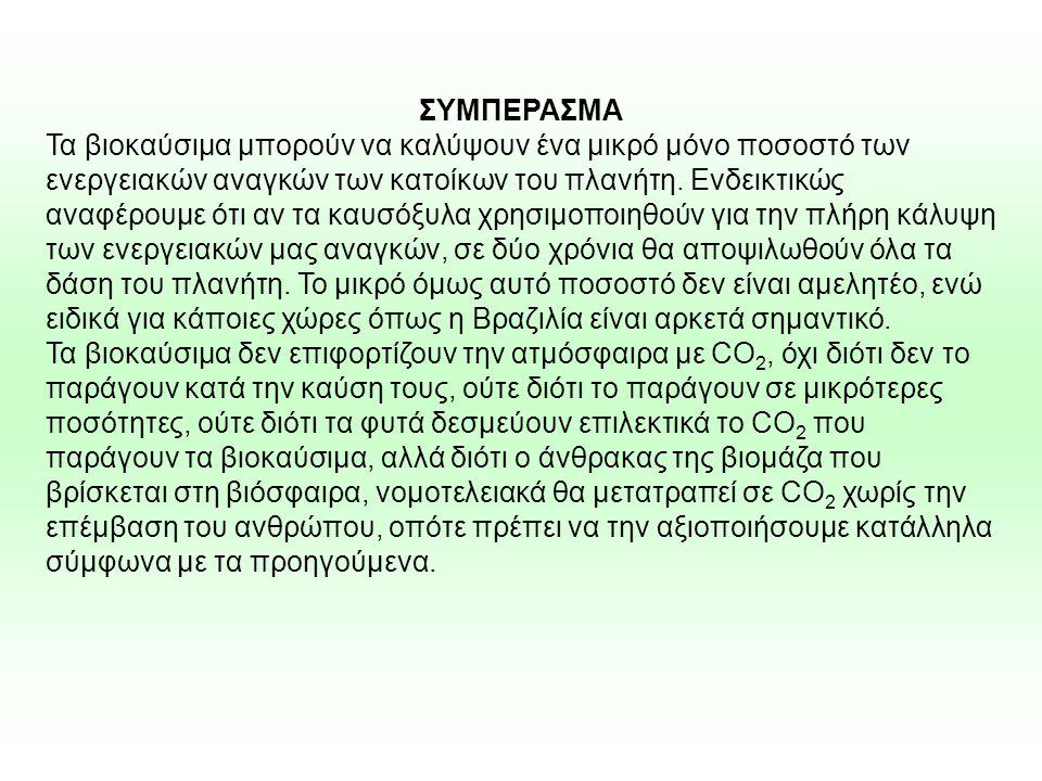 ΣΥΜΠΕΡΑΣΜΑ Τα βιοκαύσιμα μπορούν να καλύψουν ένα μικρό μόνο ποσοστό των ενεργειακών αναγκών των κατοίκων του πλανήτη. Ενδεικτικώς αναφέρουμε ότι αν τα