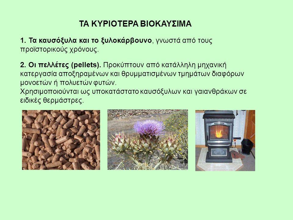1. Τα καυσόξυλα και το ξυλοκάρβουνο, γνωστά από τους προϊστορικούς χρόνους. 2. Οι πελλέτες (pellets). Προκύπτουν από κατάλληλη μηχανική κατεργασία απο
