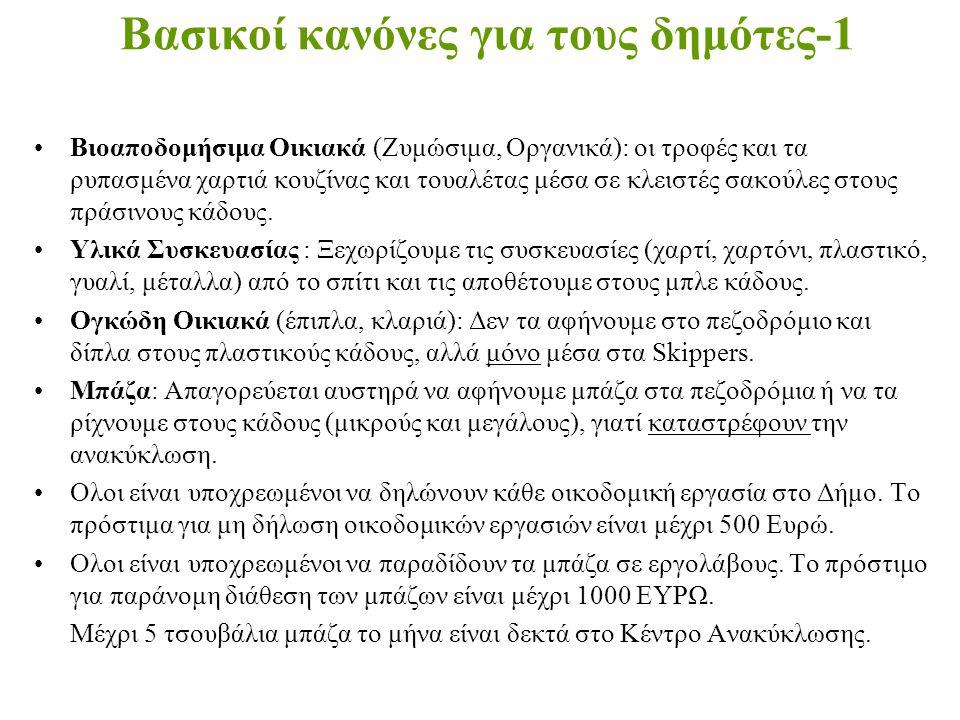 Βασικοί κανόνες για τους δημότες-1 •Βιοαποδομήσιμα Οικιακά (Ζυμώσιμα, Οργανικά): οι τροφές και τα ρυπασμένα χαρτιά κουζίνας και τουαλέτας μέσα σε κλει