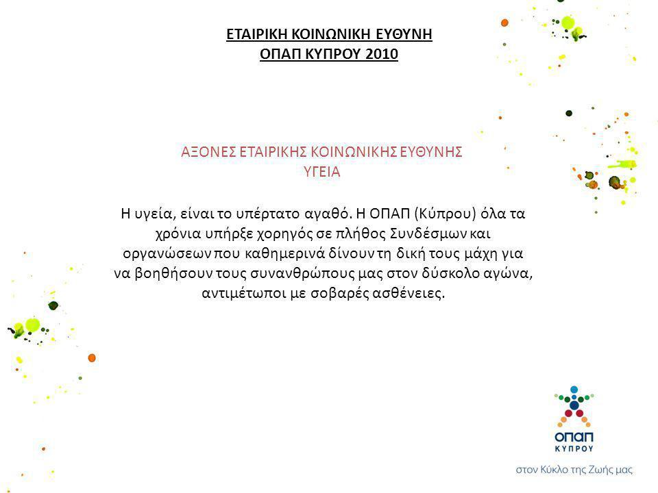 Η υγεία, είναι το υπέρτατο αγαθό. Η ΟΠΑΠ (Κύπρου) όλα τα χρόνια υπήρξε χορηγός σε πλήθος Συνδέσμων και οργανώσεων που καθημερινά δίνουν τη δική τους μ
