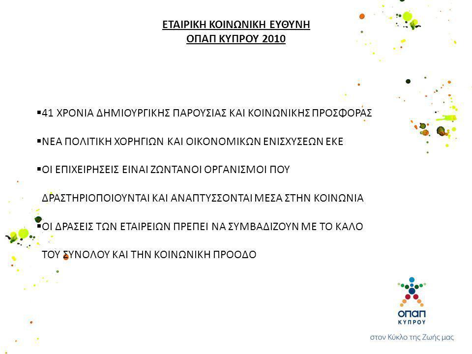 ΠΡΑΚΤΟΡΕΣ ΟΠΑΠ ΚΥΠΡΟΥ ΕΤΑΙΡΙΚΗ ΚΟΙΝΩΝΙΚΗ ΕΥΘΥΝΗ ΟΠΑΠ ΚΥΠΡΟΥ 2010 Φέτος η ΟΠΑΠ ΚΥΠΡΟΥ συμπληρώνει 41 χρόνια παρουσίας της στην Κύπρο.