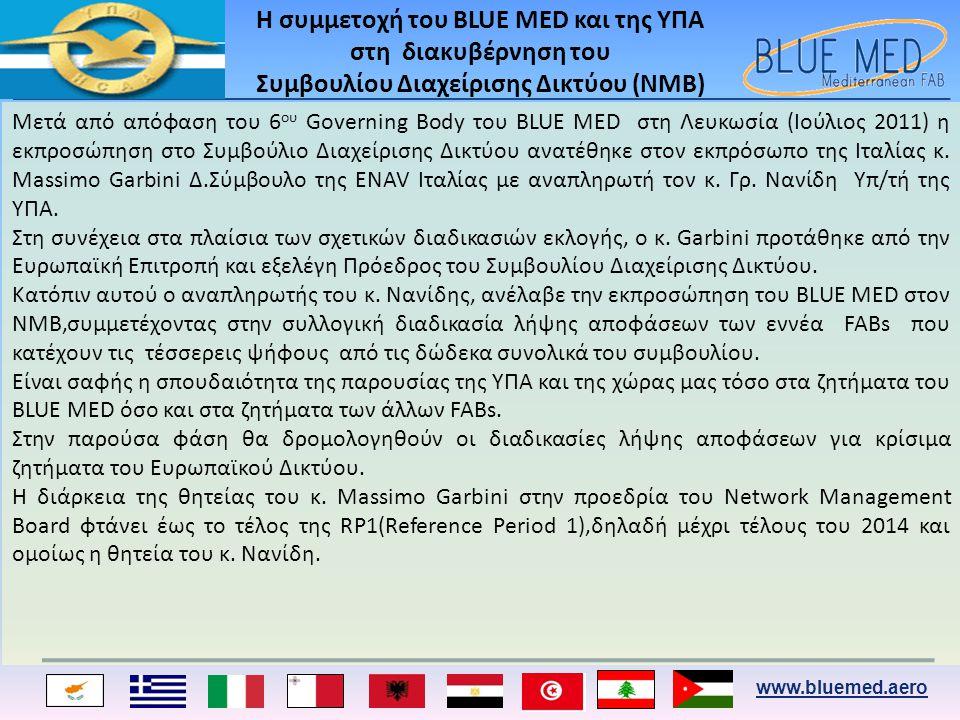 www.bluemed.aero Η συμμετοχή του BLUE MED και της ΥΠΑ στη διακυβέρνηση του Συμβουλίου Διαχείρισης Δικτύου (ΝΜΒ) Mετά από απόφαση του 6 ου Governing Body του BLUE MED στη Λευκωσία (Ιούλιος 2011) η εκπροσώπηση στο Συμβούλιο Διαχείρισης Δικτύου ανατέθηκε στον εκπρόσωπο της Ιταλίας κ.