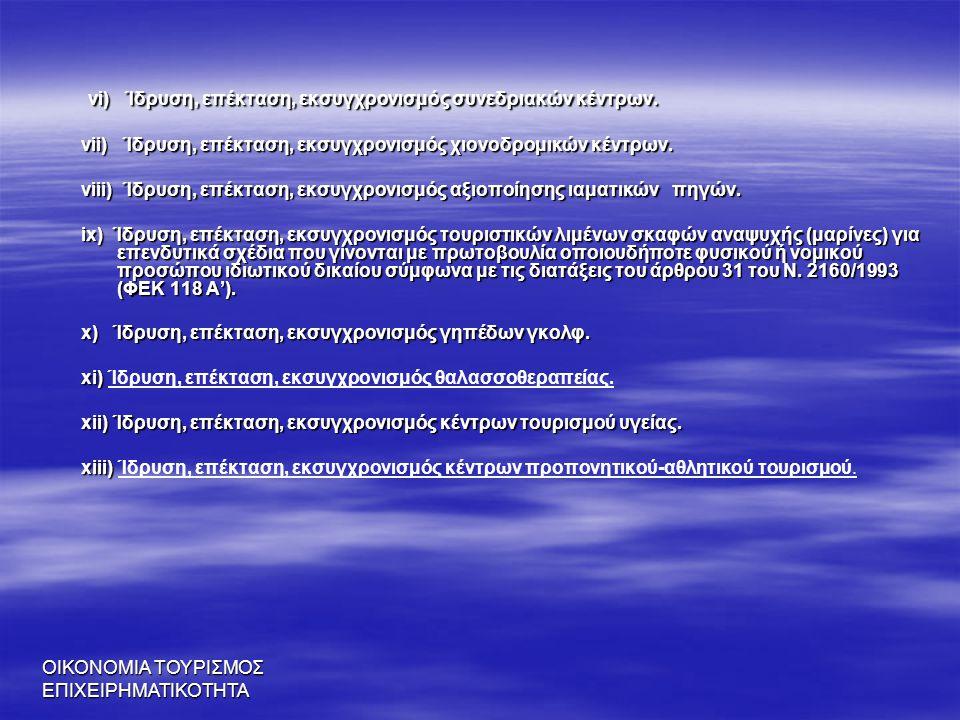 ΟΙΚΟΝΟΜΙΑ ΤΟΥΡΙΣΜΟΣ ΕΠΙΧΕΙΡΗΜΑΤΙΚΟΤΗΤΑ vi) Ίδρυση, επέκταση, εκσυγχρονισμός συνεδριακών κέντρων. vi) Ίδρυση, επέκταση, εκσυγχρονισμός συνεδριακών κέντ