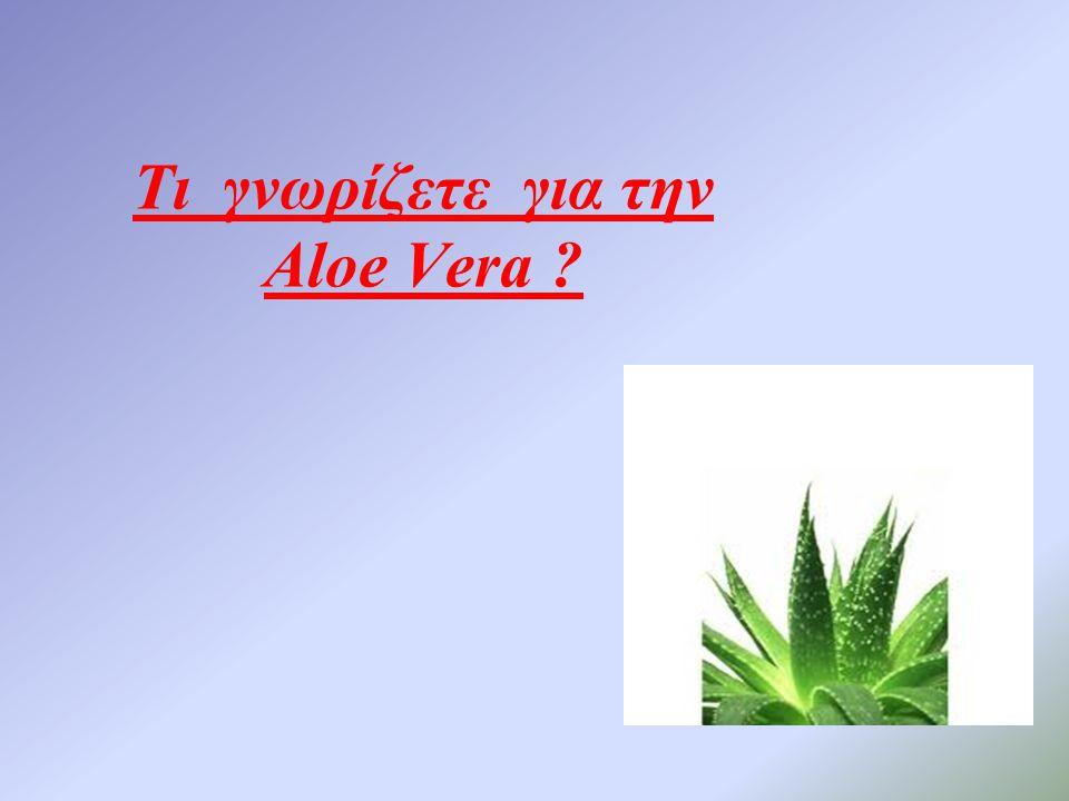 Τι γνωρίζετε για την Aloe Vera ?