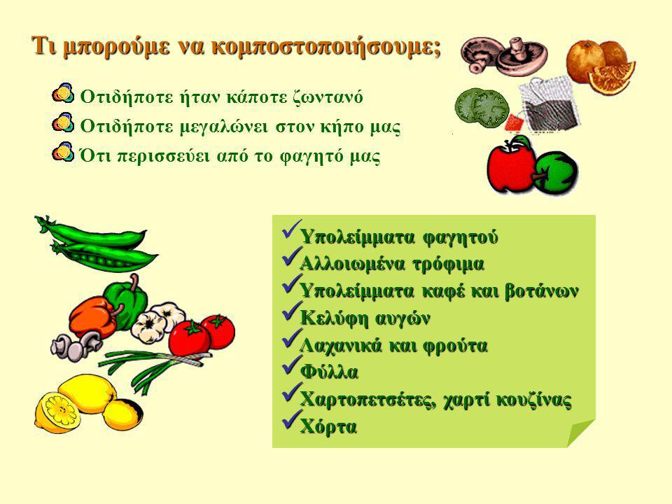 Υπολείμματα φαγητού  Υπολείμματα φαγητού  Αλλοιωμένα τρόφιμα  Υπολείμματα καφέ και βοτάνων  Κελύφη αυγών  Λαχανικά και φρούτα  Φύλλα  Χαρτοπετσ
