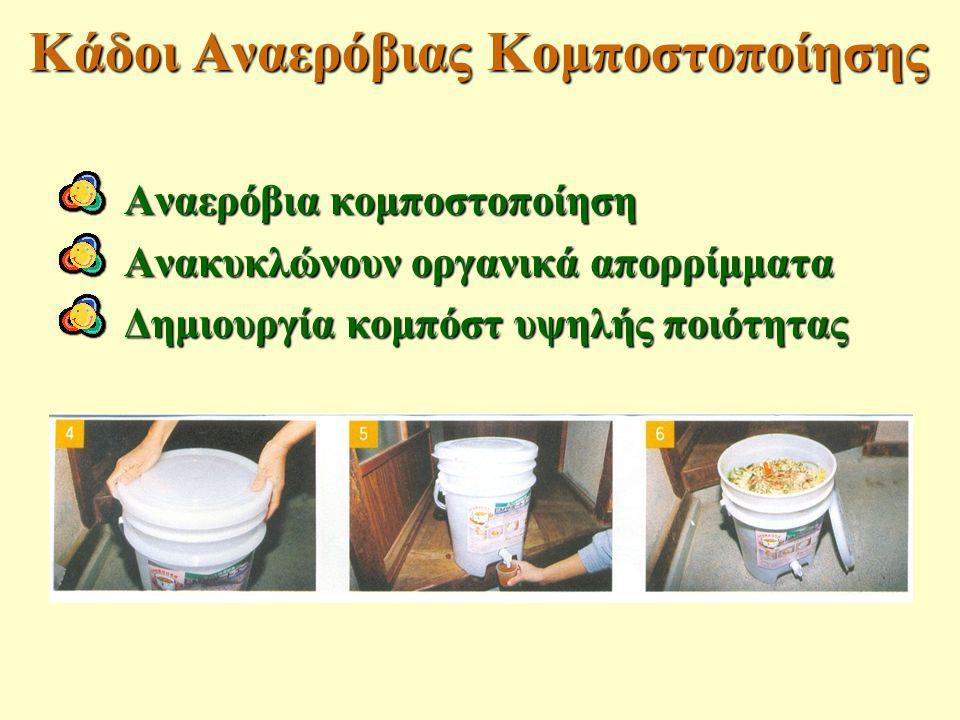 Αναερόβια κομποστοποίηση Ανακυκλώνουν οργανικά απορρίμματα Δημιουργία κομπόστ υψηλής ποιότητας Κάδοι Αναερόβιας Κομποστοποίησης