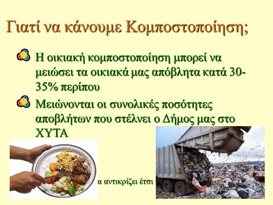 Η οικιακή κομποστοποίηση μπορεί να μειώσει τα οικιακά μας απόβλητα κατά 30- 35% περίπου Μειώνονται οι συνολικές ποσότητες αποβλήτων που στέλνει ο Δήμο