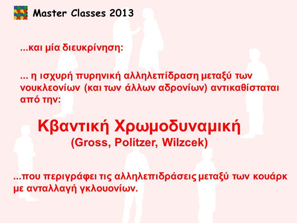 Master Classes 2013...και μία διευκρίνηση:... η ισχυρή πυρηνική αλληλεπίδραση μεταξύ των νουκλεονίων (και των άλλων αδρονίων) αντικαθίσταται από την: