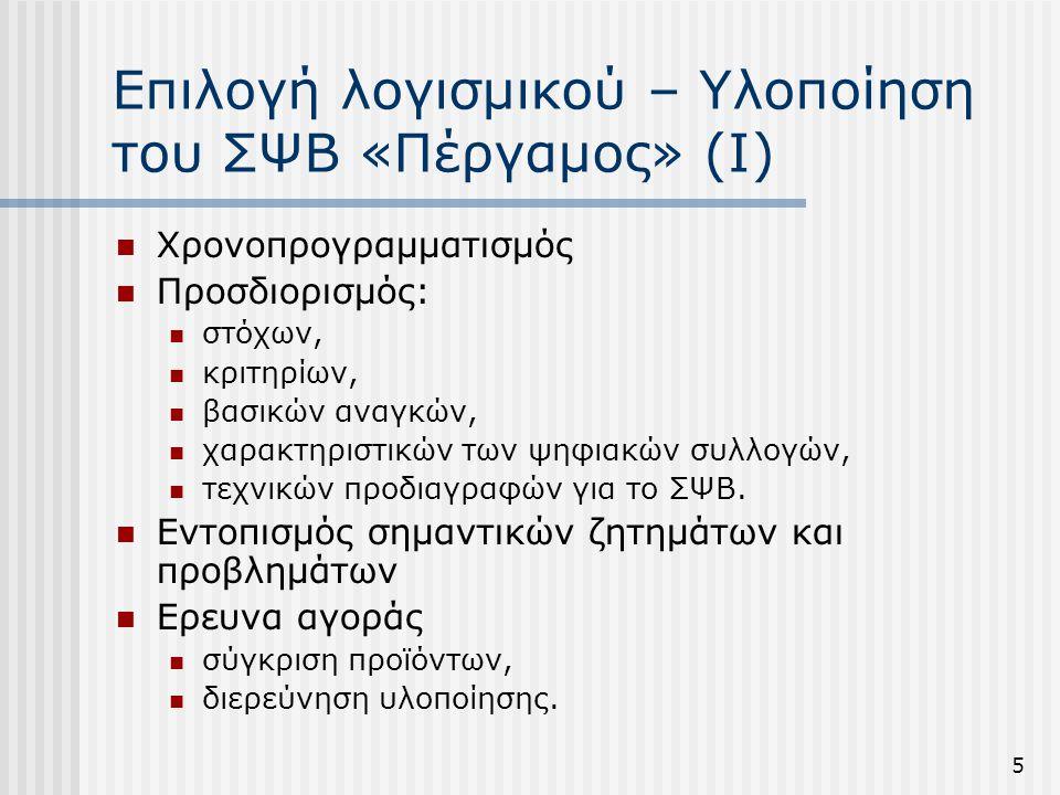 5 Επιλογή λογισμικού – Υλοποίηση του ΣΨΒ «Πέργαμος» (Ι)  Χρονοπρογραμματισμός  Προσδιορισμός:  στόχων,  κριτηρίων,  βασικών αναγκών,  χαρακτηριστικών των ψηφιακών συλλογών,  τεχνικών προδιαγραφών για το ΣΨΒ.