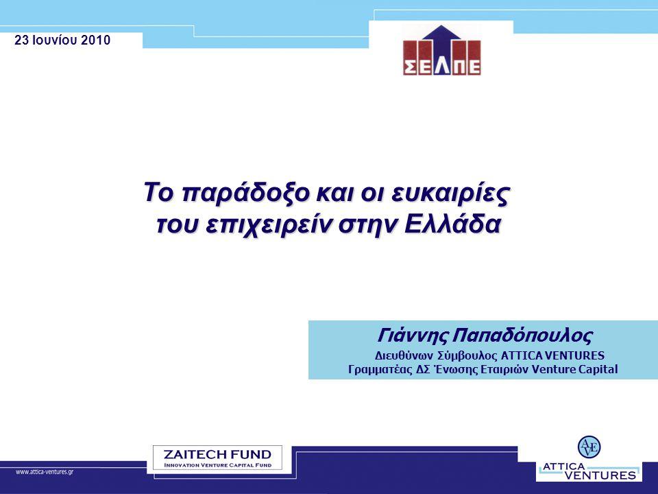 23 Ιουνίου 2010 Το παράδοξο και οι ευκαιρίες του επιχειρείν στην Ελλάδα Γιάννης Παπαδόπουλος Διευθύνων Σύμβουλος ATTICA VENTURES Γραμματέας ΔΣ Ένωσης