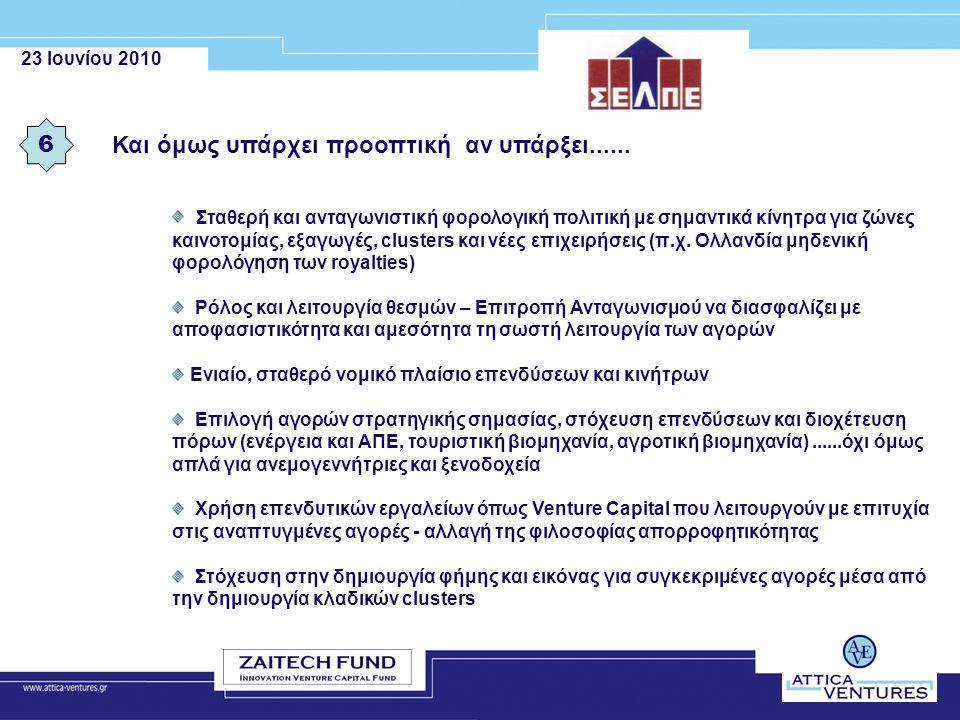 23 Ιουνίου 2010 Και όμως υπάρχει προοπτική αν υπάρξει...... 6 Σταθερή και ανταγωνιστική φορολογική πολιτική με σημαντικά κίνητρα για ζώνες καινοτομίας