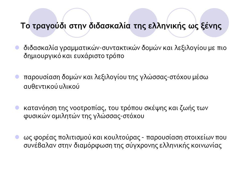Το τραγούδι στην διδασκαλία της ελληνικής ως ξένης  διδασκαλία γραμματικών-συντακτικών δομών και λεξιλογίου με πιο δημιουργικό και ευχάριστο τρόπο 