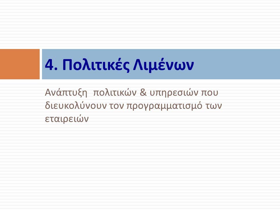 Ανάπτυξη πολιτικών & υπηρεσιών που διευκολύνουν τον προγραμματισμό των εταιρειών 4.