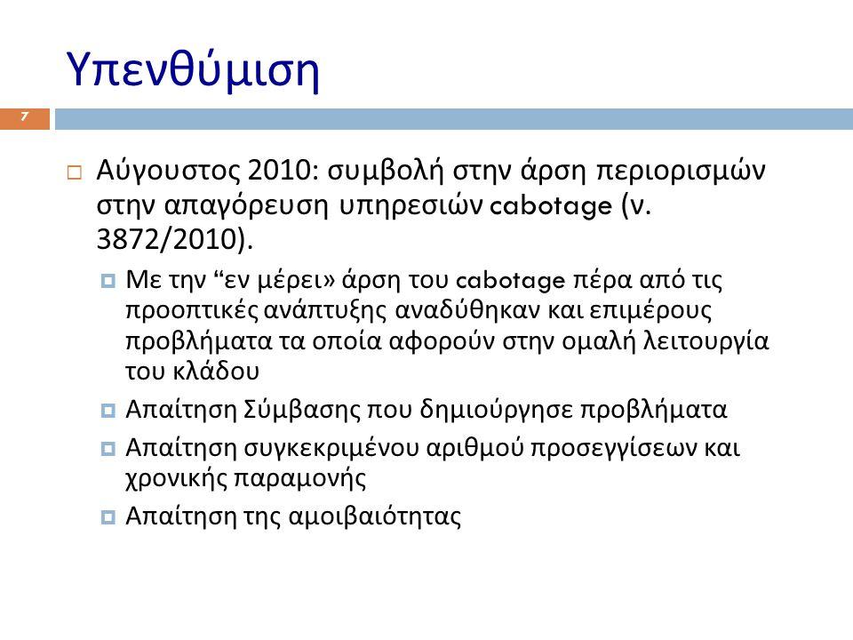 Υπενθύμιση  Αύγουστος 2010: συμβολή στην άρση περιορισμών στην απαγόρευση υπηρεσιών cabotage ( ν.