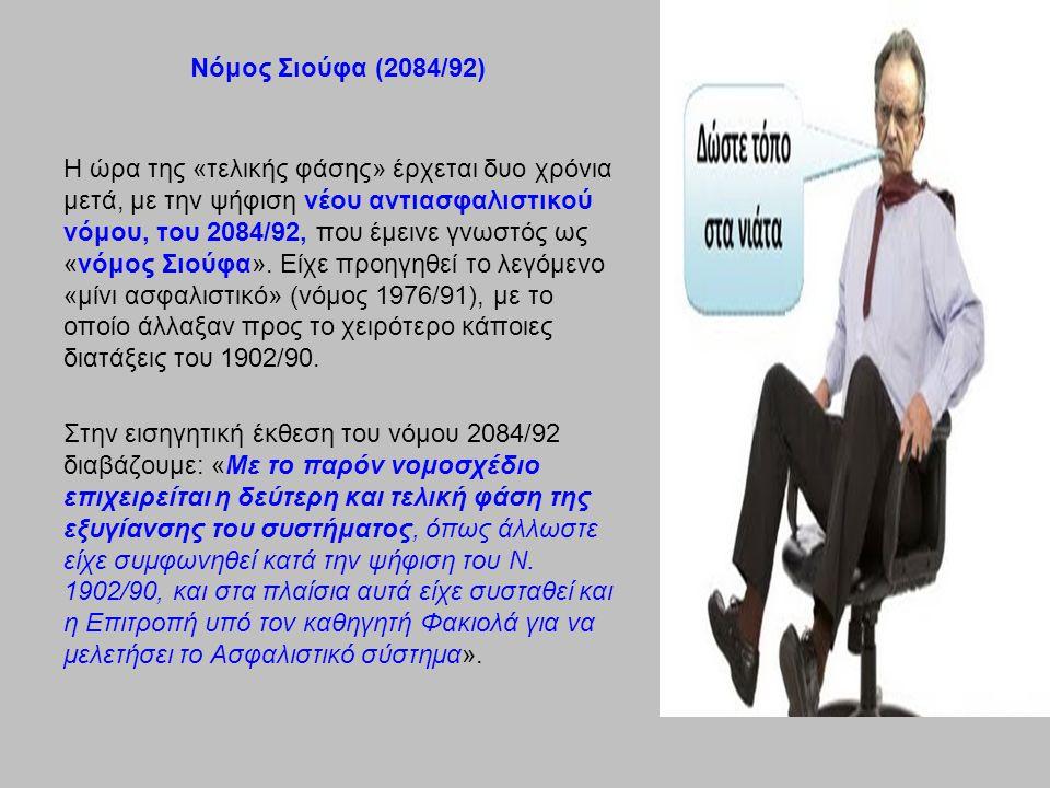 Νόμος Σιούφα (2084/92) Η ώρα της «τελικής φάσης» έρχεται δυο χρόνια μετά, με την ψήφιση νέου αντιασφαλιστικού νόμου, του 2084/92, που έμεινε γνωστός ως «νόμος Σιούφα».
