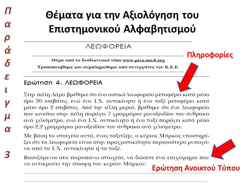 Θέματα για την Αξιολόγηση του Επιστημονικού Αλφαβητισμού Παράδειγμα 3Παράδειγμα 3 Πληροφορίες Ερώτηση Ανοικτού Τύπου