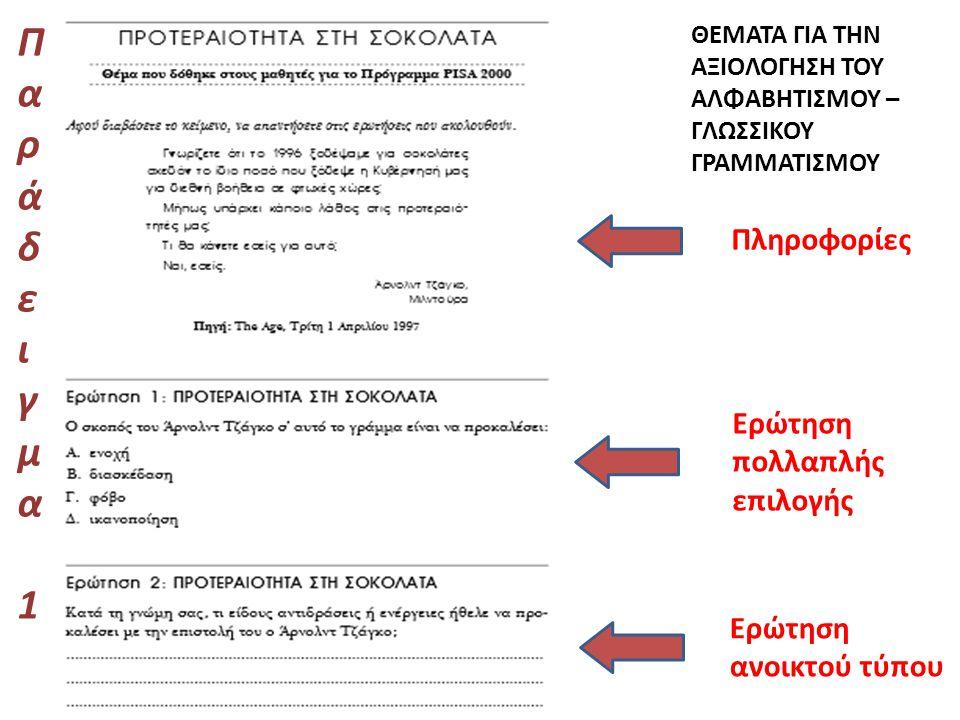 Οδηγίες για τη Βαθμολόγηση των Θεμάτων του Αλφαβητισμού – Γλωσσικού Γραμματισμού