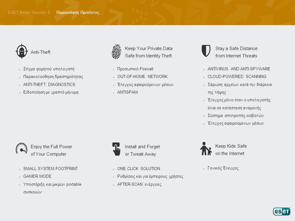 ESET Smart Security 6Παρουσίαση Προϊόντος Anti-Theft ■ Στίγμα φορητού υπολογιστή ■ Παρακολούθηση δραστηριότητας ■ ANTI-THEFT DIAGNOSTICS ■ Ειδοποίηση