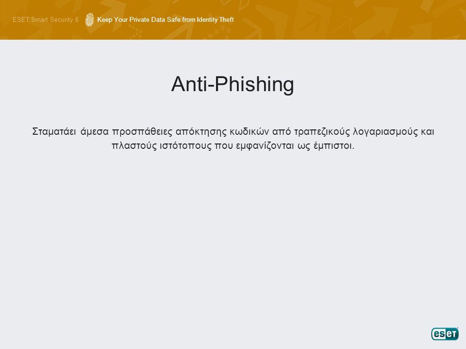 ESET Smart Security 6Keep Your Private Data Safe from Identity Theft Σταματάει άμεσα προσπάθειες απόκτησης κωδικών από τραπεζικούς λογαριασμούς και πλ