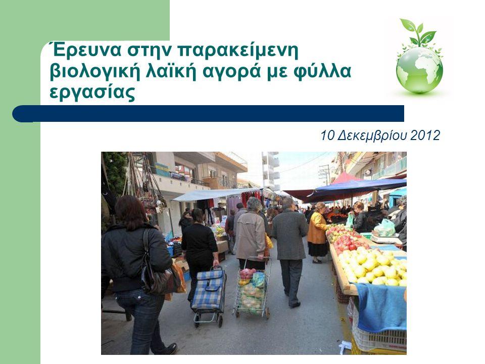 Έρευνα στην παρακείμενη βιολογική λαϊκή αγορά με φύλλα εργασίας 10 Δεκεμβρίου 2012