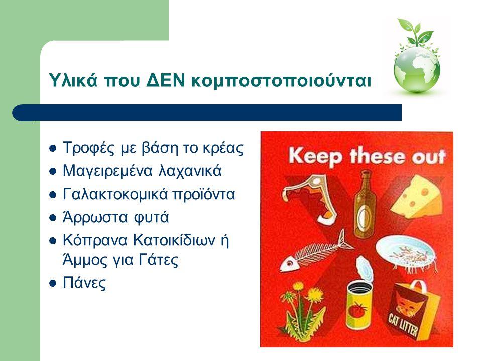 Υλικά που ΔΕΝ κομποστοποιούνται  Τροφές με βάση το κρέας  Μαγειρεμένα λαχανικά  Γαλακτοκομικά προϊόντα  Άρρωστα φυτά  Κόπρανα Κατοικίδιων ή Άμμος