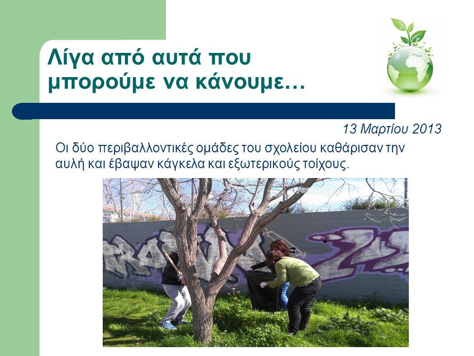 Λίγα από αυτά που μπορούμε να κάνουμε… 13 Μαρτίου 2013 Οι δύο περιβαλλοντικές ομάδες του σχολείου καθάρισαν την αυλή και έβαψαν κάγκελα και εξωτερικού