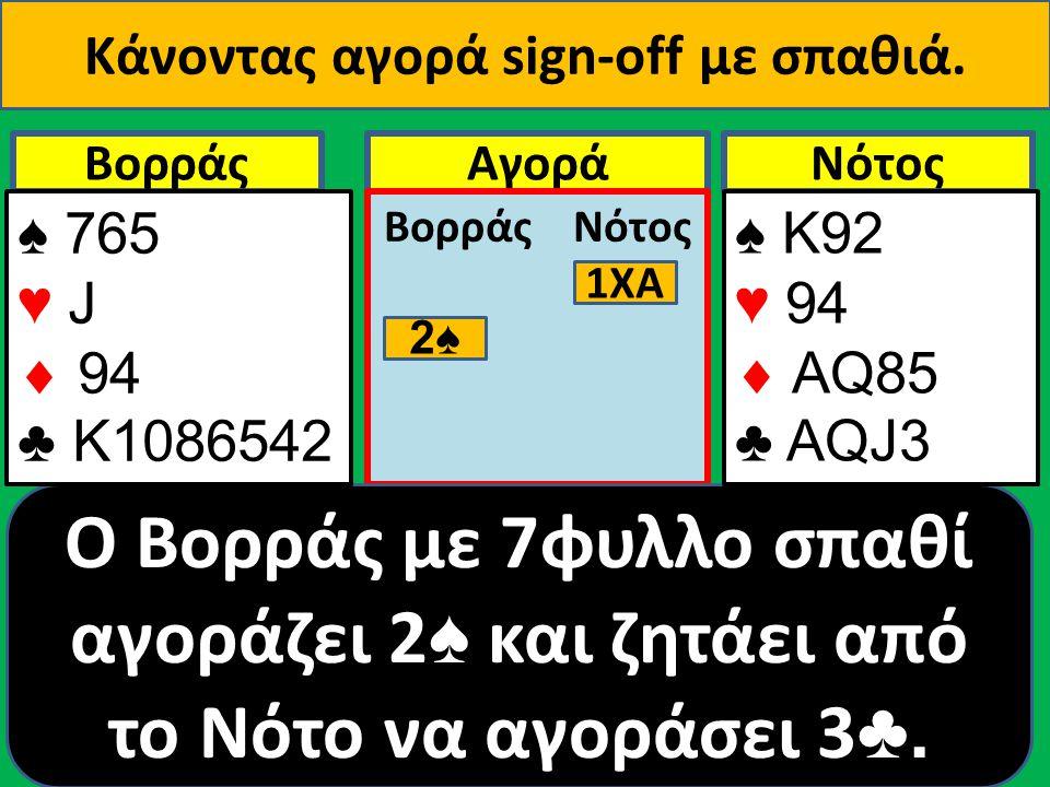 ΒορράςNότοςΑγορά Βορράς Νότος 1ΧΑ 2♠ O Βορράς με 7φυλλο σπαθί αγοράζει 2 ♠ και ζητάει από το Νότο να αγοράσει 3 ♣.
