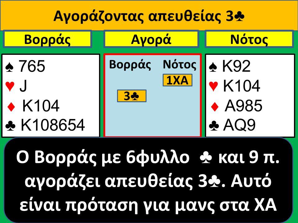 Αγοράζοντας απευθείας 3 ♣ ♠ 765 ♥ J  Κ104 ♣ Κ108654 Βορράς ♠ Κ92 ♥ Κ104  A985 ♣ ΑQ9 NότοςΑγορά Βορράς Νότος O Βορράς με 6φυλλο ♣ και 9 π.