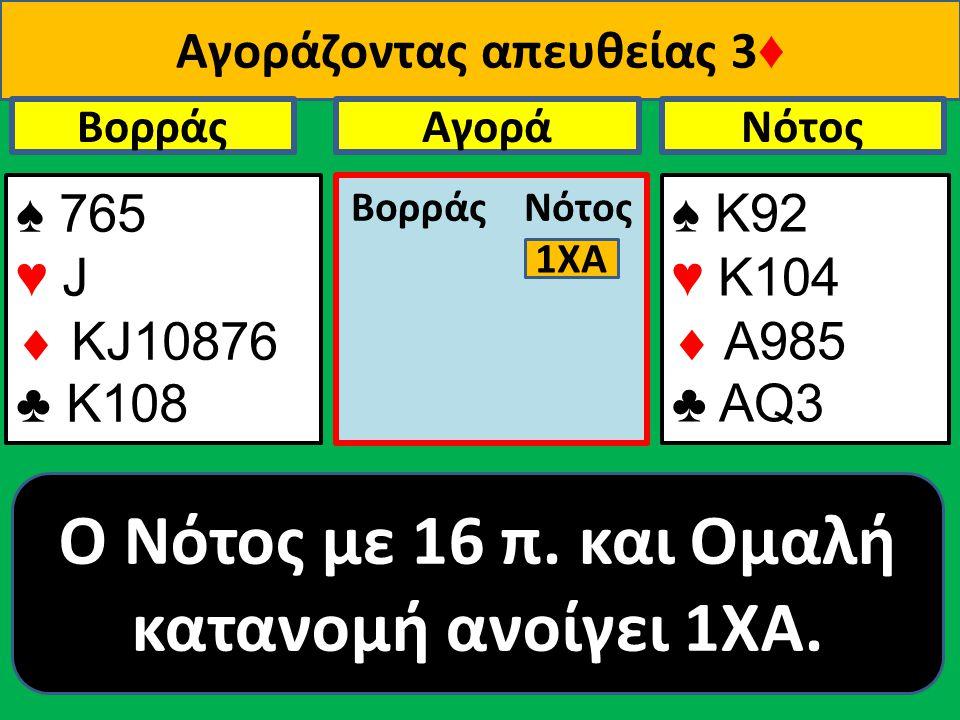 Αγοράζοντας απευθείας 3 ♦ ♠ 765 ♥ J  ΚJ10876 ♣ Κ108 Βορράς ♠ Κ92 ♥ K104  A985 ♣ ΑQ3 NότοςΑγορά Βορράς Νότος O Νότος με 16 π.