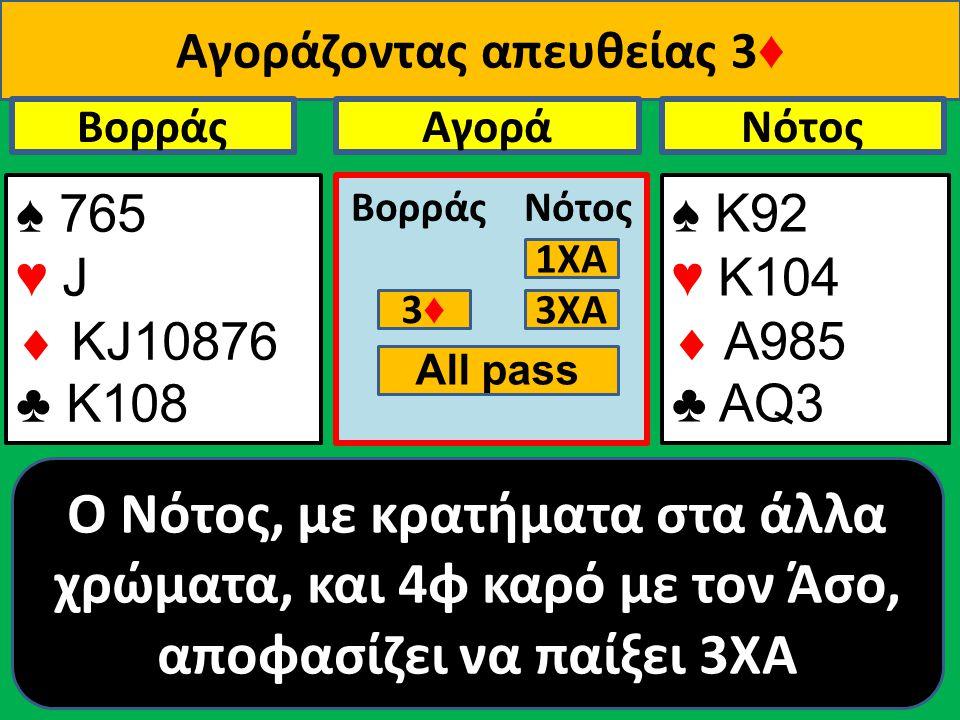 Αγοράζοντας απευθείας 3 ♦ ♠ 765 ♥ J  ΚJ10876 ♣ Κ108 Βορράς ♠ Κ92 ♥ K104  A985 ♣ ΑQ3 NότοςΑγορά Βορράς Νότος 1ΧΑ 3♦3♦ O Νότος, με κρατήματα στα άλλα χρώματα, και 4φ καρό με τον Άσο, αποφασίζει να παίξει 3ΧΑ 3ΧΑ All pass