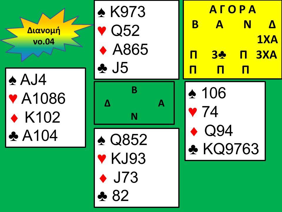 Β Δ Α Ν ♠ AJ4 ♥ A1086  K102 ♣ A104 ♠ 106 ♥ 74  Q94 ♣ KQ9763 Διανομή νο.04 ♠ K973 ♥ Q52  A865 ♣ J5 ♠ Q852 ♥ KJ93  J73 ♣ 82 Α Γ Ο Ρ Α B Α Ν Δ 1XA Π 3 ♣ Π 3XA Π Π Π