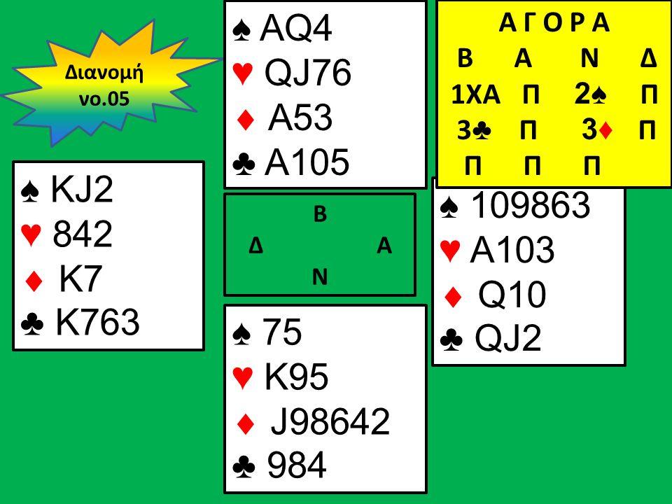 Β Δ Α Ν ♠ KJ2 ♥ 842  Κ7 ♣ K763 ♠ 109863 ♥ A103  Q10 ♣ QJ2 Διανομή νο.05 ♠ AQ4 ♥ QJ76  A53 ♣ A105 ♠ 75 ♥ K95  J98642 ♣ 984 Α Γ Ο Ρ Α B Α Ν Δ 1XA Π 2♠ Π 3 ♣ Π 3♦ Π Π Π Π