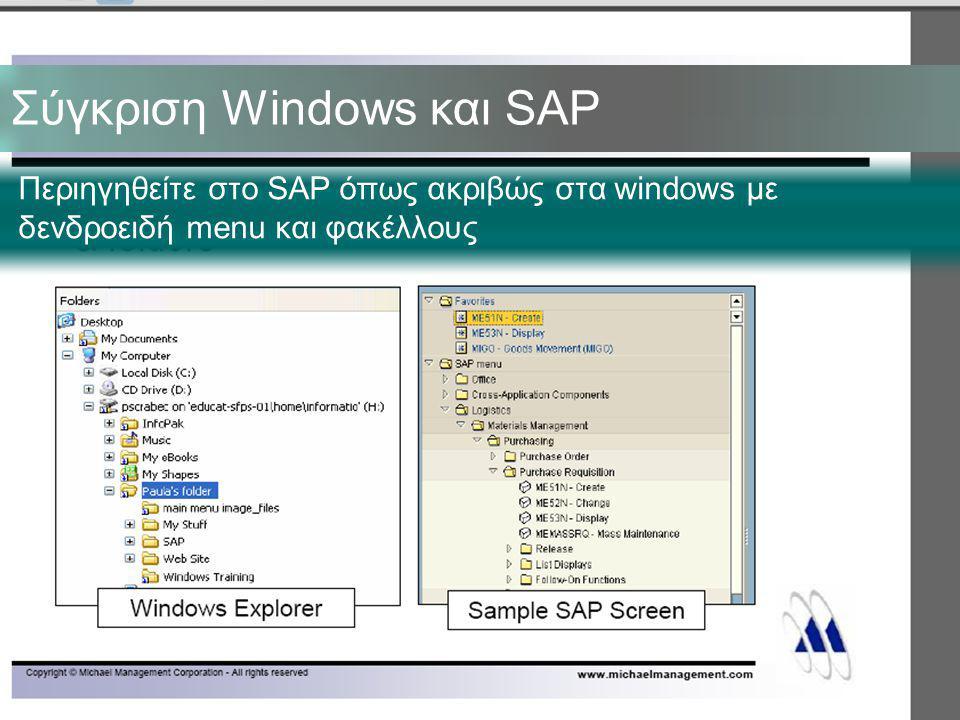 Σύγκριση Windows και SAP Περιηγηθείτε στο SAP όπως ακριβώς στα windows με δενδροειδή menu και φακέλλους