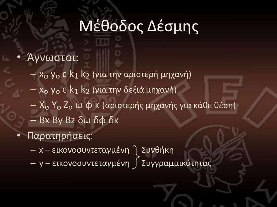 Μέθοδος Δέσμης • Άγνωστοι: – x o y o c k 1 k 2 (για την αριστερή μηχανή) – x o y o c k 1 k 2 (για την δεξιά μηχανή) – Χ ο Υ ο Ζ ο ω φ κ (αριστερής μηχανής για κάθε θέση) – Bx By Bz δω δφ δκ • Παρατηρήσεις: – x – εικονοσυντεταγμένη Συνθήκη – y – εικονοσυντεταγμένη Συγγραμμικότητας