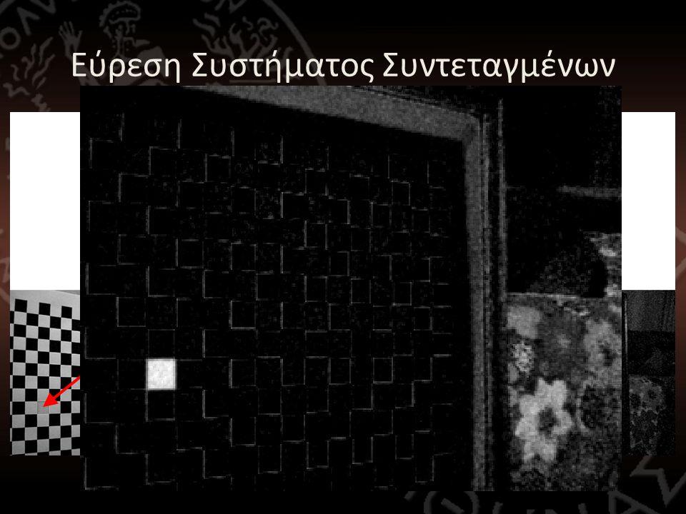 Εύρεση Συστήματος Συντεταγμένων • Πρέπει να βρεθεί αυτόματα το κόκκινο τετράγωνο! • Γίνεται χωρισμός των καναλιών της εικόνας: – image_red – image_gre