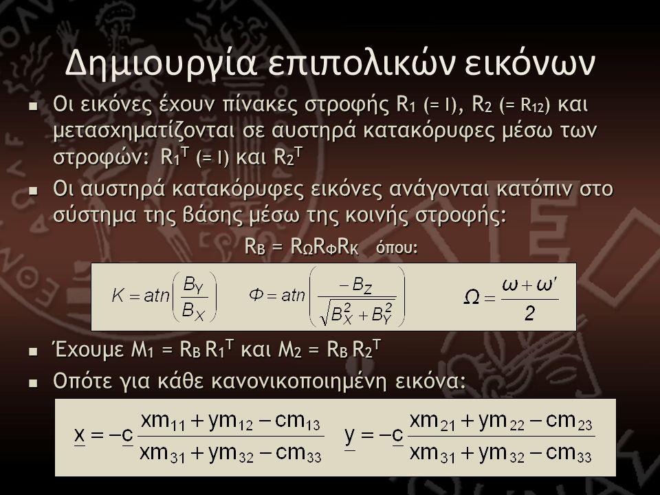  Οι εικόνες έχουν πίνακες στροφής R 1 (= Ι), R 2 (= R 12 ) και μετασχηματίζονται σε αυστηρά κατακόρυφες μέσω των στροφών: R 1 T (= Ι) και R 2 T  Οι αυστηρά κατακόρυφες εικόνες ανάγονται κατόπιν στο σύστημα της βάσης μέσω της κοινής στροφής: R B = R Ω R Φ R Κ όπου:  Έχουμε M 1 = R B R 1 T και M 2 = R B R 2 T  Οπότε για κάθε κανονικοποιημένη εικόνα: Δημιουργία επιπολικών εικόνων