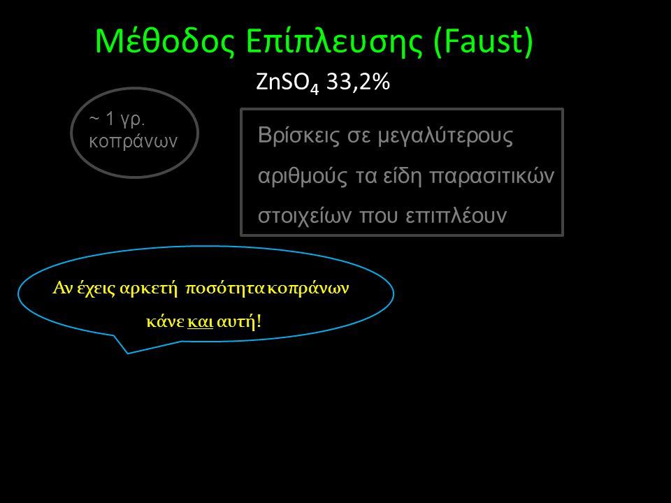 ~ 1 γρ. κοπράνων Μέθοδος Eπίπλευσης (Faust) ZnSO 4 33,2% Βρίσκεις σε μεγαλύτερους αριθμούς τα είδη παρασιτικών στοιχείων που επιπλέουν Αν έχεις αρκετή