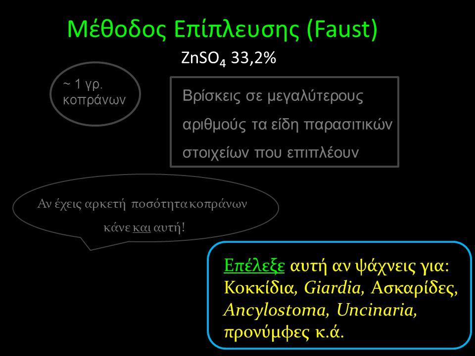 Επέλεξε αυτή αν ψάχνεις για: Κοκκίδια, Giardia, Ασκαρίδες, Ancylostoma, Uncinaria, προνύμφες κ.ά. ~ 1 γρ. κοπράνων Μέθοδος Eπίπλευσης (Faust) ZnSO 4 3